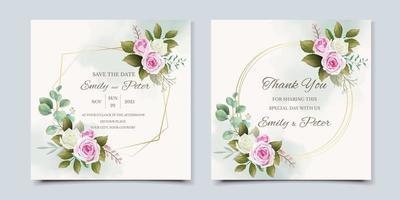 schöne Hochzeitseinladungskarte vektor