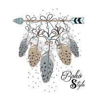 handgezeichneter Boho-Stil des dekorativen Pfeils mit Federn vektor