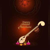 kreatives Element Veena für glückliche Vasant Panchami Feier Hintergrund