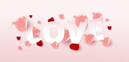Valentinstag-Verkaufsplakat oder -fahne mit vielen süßen Herzen und Liebestext auf weichem rosa Farbhintergrund. Werbe- und Einkaufsvorlage oder für Liebe und Valentinstag.
