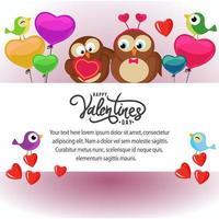 Alla hjärtans kortmall med söta fåglar vektor