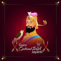 dasam guru of sikh guru gobind singh jayanti firande vektor