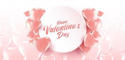 Valentinstag-Verkaufsplakat oder -fahne mit vielen süßen Herzen und auf weichem rosa Farb- und Herzmusterhintergrund. Werbe- und Einkaufsvorlage für Liebe und Valentinstag.