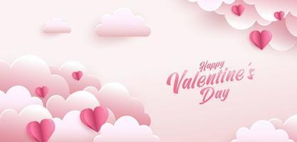 glücklicher Valentinstag Grußkartenentwurf. Feiertagsfahne mit Papierkunstart-Herzformen. Papierkunst und digitale Handwerksartillustration