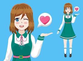 niedlichen Anime Mädchen Vektor