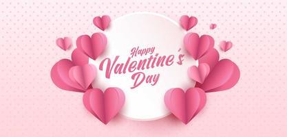 glücklicher Valentinstag Grußkartenentwurf. Feiertagsfahne mit Papierkunstart-Herzformen. Papierkunst und digitale Handwerksartillustration vektor