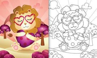 Malbuch für Kinder mit einem niedlichen Löwen, der Herz zum Valentinstag umarmt