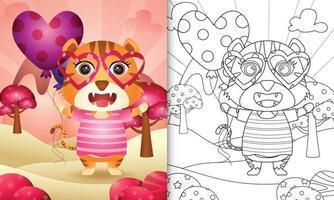 Malbuch für Kinder mit einem niedlichen Tiger, der Ballon für Valentinstag hält