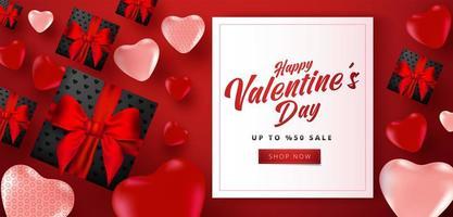 Valentinstag-Verkaufsplakat oder -fahne mit vielen süßen Herzen und schwarzen Geschenkboxen auf rotem Hintergrund. Werbe- und Einkaufsvorlage oder für Liebe und Valentinstag.