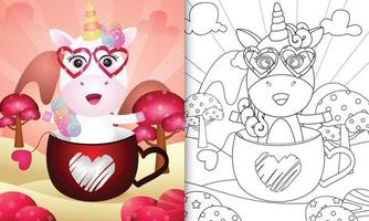 Malbuch für Kinder mit einem niedlichen Einhorn in der Tasse zum Valentinstag