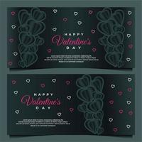 glad alla hjärtans dag banner mall med mörk bakgrund mall vektor