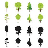 samling av åtta platta träd med silhuetter vektor