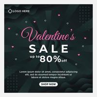 Happy Valentinstag Verkauf Social Media Post Vorlage mit dunklem Hintergrund Vorlage vektor