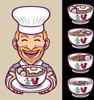 nudlar mat kock karaktär och skål uppsättning illustration vektor