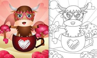 Malbuch für Kinder mit einem niedlichen Büffel in der Tasse zum Valentinstag
