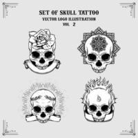 uppsättning skalle tatuering vektor logotyp illustrationer