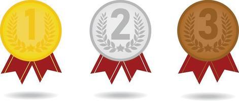 bandrankning medalj vektorillustration med 1 2 3 plats. guld, silver, brons på vit bakgrund vektor
