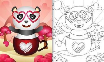 Malbuch für Kinder mit einem süßen Panda in der Tasse zum Valentinstag