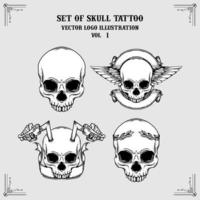 uppsättning skalle tatuering vektor logo illustration
