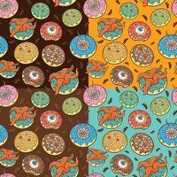 Halloween beängstigende Donuts nahtloses Muster