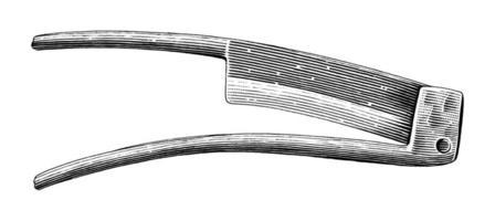 Vintage Schälmesser Hand Zeichnung Gravur Illustration Schwarzweiss Kunst lokalisiert auf weißem Hintergrund vektor