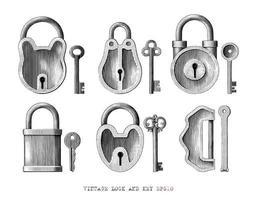 Handgezeichnete Gravurart-Schwarzweiss-Kunst der Weinleseschloss- und Schlüsselsammlung lokalisiert auf weißem Hintergrund vektor