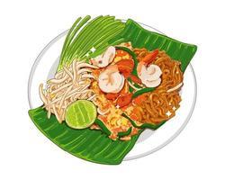 pad thai eller padthai noodle utsökt thailändsk mat isolerad på vit bakgrund. vektor