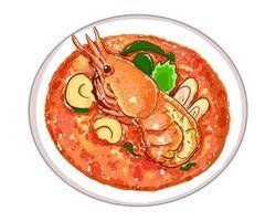 tom yum kung eller kryddig sur soppa läcker thailändsk mat isolerad på vit bakgrund. vektor