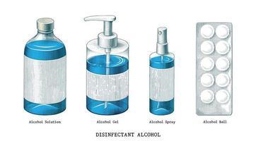 Desinfektionsmittel Alkohol Set Hand gezeichnete Vintage-Stil Kunst lokalisiert auf weißem Hintergrund vektor