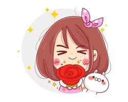 Charakter des niedlichen Mädchens, das rote Rosenblume für glücklichen Valentinstag hält, lokalisiert auf weißem Hintergrund. vektor