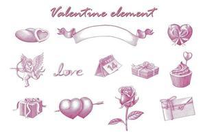 Valentinselement Hand zeichnen Vintage Gravur Stil Kunst isoliert auf weißem Hintergrund vektor