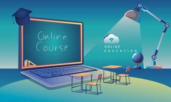online utbildning ansökan lärande över hela världen på dator, mobil webbplats bakgrund. socialt distans koncept. klassrumsutbildningen, bibliotekets vektorillustration platt
