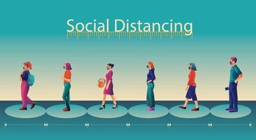 social distansering, människor håller avstånd och undviker fysisk kontakt, handskakning eller handrörelse för att skydda från covid-19 coronavirus-spridningskoncept, människor använder thailändsk hälsning av sawasdee vektor