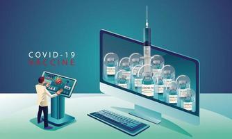 medicinskt team och forskare har upptäckt covid-19-vaccinet, laboratorietestet, sprutan, en vaccinflaska, som arbetar med testet. vaccinutveckling redo för behandling illustration, vektor platt design