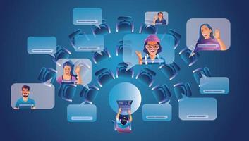 Arbeiter am Fenster im Gespräch mit Kollegen. Videokonferenz- und Online-Besprechungsarbeitsplatzseite, Mann und Frau lernen Vektorillustration, flach