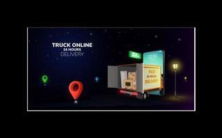 digitale Online-Lieferung eines globalen logistischen LKW-Lieferwagens auf einer Handy-Website im Nachthintergrundkonzept