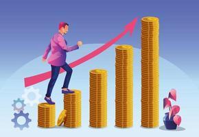affärsframgångskoncept, affärstillväxt affärsman som klättrar upp stegen av guldmynt till nästa steg för karriärtillväxt vektor