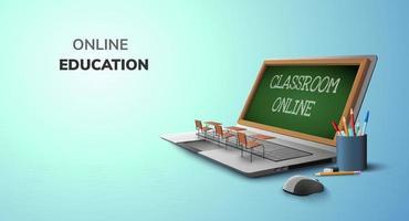 Online-Bildung im digitalen Klassenzimmer auf Laptop und Leerraumhintergrund. Website soziale Distanz Konzept