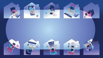 arbete hemifrån koncept. ovanifrån frilansare som arbetar på enheter. människor hemma gör fjärrarbete vektorillustration vektor