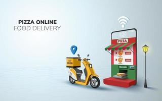 digital online pizzaleverans på skoter med bakgrundsidé för mobiltelefonwebbplats vektor