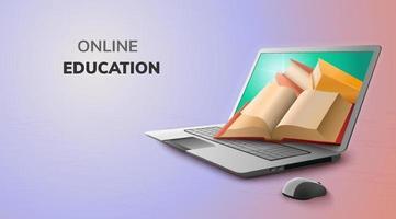 Online-Bildung des digitalen Buches auf Laptop, Hintergrund der mobilen Website der Leerstelle. soziales Distanzkonzept.