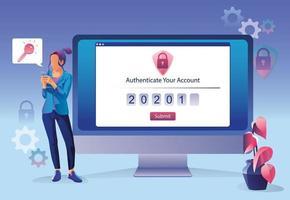 Online-Sicherheitskonzept für Geschäftsfrauen. Internet-Datenbank Datenschutz Datenschutz Vorhängeschloss Schutz Gerät Zugang. Onlinesicherheit. junge Geschäftsfrauen, die ein Passwort eingeben. Benutzerzugriff auf Konto. vektor