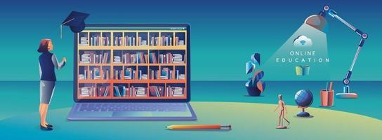 Online-Bildung Anwendung Lernen weltweit auf Computer, mobile Website Hintergrund. soziales Distanzkonzept. das Klassenzimmer Schulungskurs, Bibliothek Vektor-Illustration flach vektor