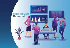 Geschäftskonzept, soziale Medien, Lernen, Menschen schaffen Geschäfte im Internet, Analyse und Problemlösung, Online-Geschäftsförderung, gemeinsames Brainstorming in Teamarbeit. vektor