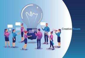 Geschäftsleute Brainstorming erfolgreiche Startup-Idee sitzen am Tisch in Form einer hellen Glühbirne vektor
