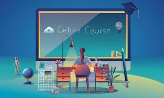 Online-Bildung Anwendung Lernen weltweit auf Computer, mobile Website Hintergrund. soziales Distanzkonzept mit Büchern, Vortrag, Bleistift. das Klassenzimmer Schulungskurs, Bibliothek Vektor-Illustration flach vektor