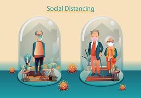 Durch soziale Distanzierung halten alte Menschen Abstand und vermeiden körperlichen Kontakt. Sie tragen eine chirurgische Schutzmaske, einen Händedruck oder eine Handberührung, um sich vor dem Konzept der Verbreitung von Covid-19-Coronaviren zu schützen vektor