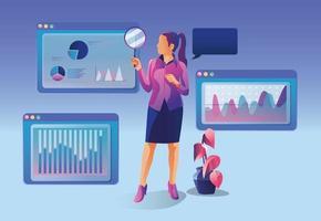 Konzept der Geschäftsanalyse, Suchmaschinenoptimierung. Das Händlerteam analysiert Verkäufe, Besucher und steigert die Effizienz. eine Geschäftsfrau mit einer Lupe. Marketinganalyse, Vektor
