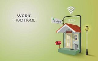 digitalt online-arbete hemifrån-applikation på mobilwebbplatsens bakgrund. socialt distans koncept vektor