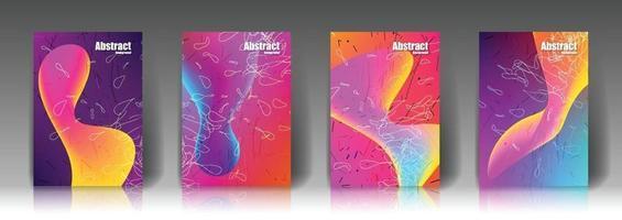 abstraktfärgad form fyra omslag vektor